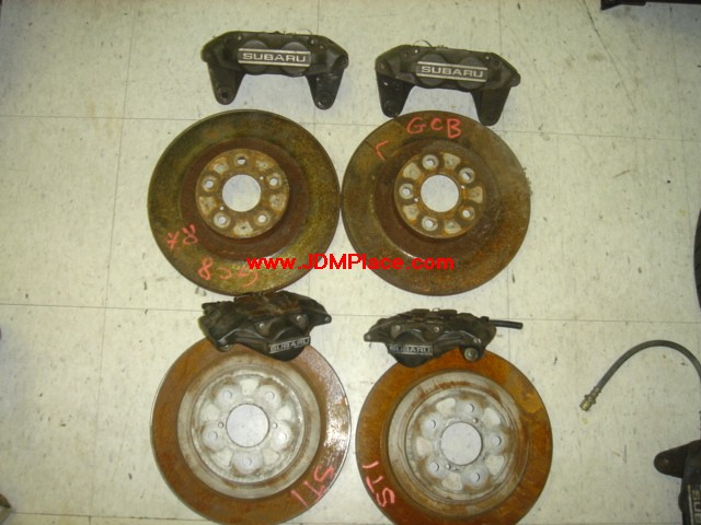 BA26001 - JDM FHI STI GC8 Impreza Version 6 front 4 pot and rear 2 pot brakes complete! Rears will comes with hub/spindles!!