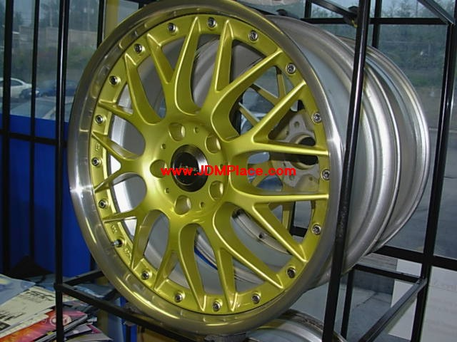 RI29005 - JDM Weds Kranze ERM mesh multi pieces wheels, 18x7.5 5x114.3 +38 offset in gold with polish lip.